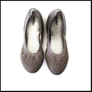 Gray Sparkly Rhinestone Scrunch Ballet Flat 8